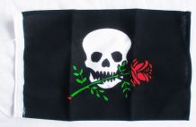 NAUTICAL FLAG : PIRATE WITH ROSE  30cm x 20cm